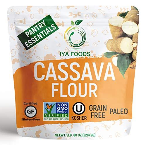 Iya Foods Premium Cassava Flour 5 lb. bags, Plant-Based, Grain-Free, Certified Gluten-Free, Kosher Certified, Non-GMO Verified, Allergen-Free, Paleo, Keto, Natural, All-Purpose Flour