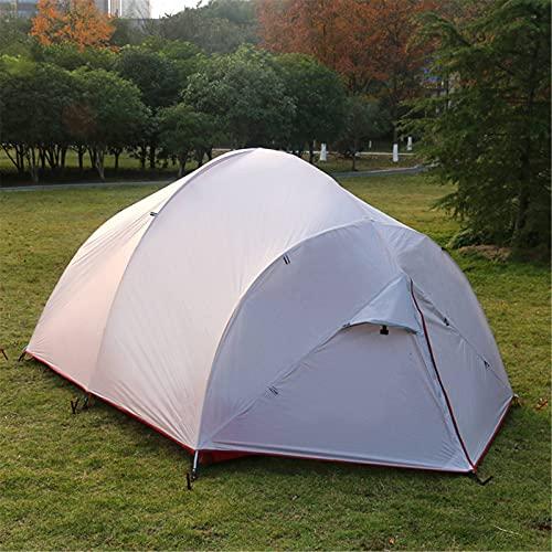 YLJR Tienda de campaña ultraligera con revestimiento de silicona de doble capa para 4 personas con alfombrilla de suelo, tienda impermeable para exteriores para camping