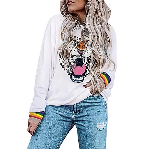 Xiangdanful Damen Sweatshirt Pullover Hoodies Langarm Tiger Drucken T-Shirt Winter Rundhals Top Oberteile Frauen Streetwear Pullis Teenager Rainbow Bluse Langarmshirt (S, Weiß)