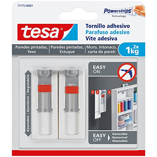tesa 77775-00001-00 77775-00001-00-Smart Mounting System Clavos Removíbles SMS Tornillo Adhesivo Ajustable hasta 1Kg Pared Pintada, Not_applicable, Set de 2 Piezas