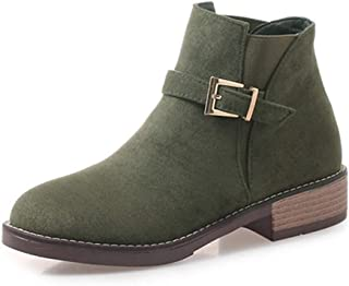 GIY Womens Winter Round Toe Low Heels Chelsea Boots Suede Leather Buckle Strap Slip On Solid Ankle Boot