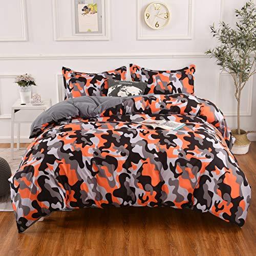 Lightweight Microfiber Bedding Duvet Cover Set,Camouflage Orange Black Printing Pattern (Queen)
