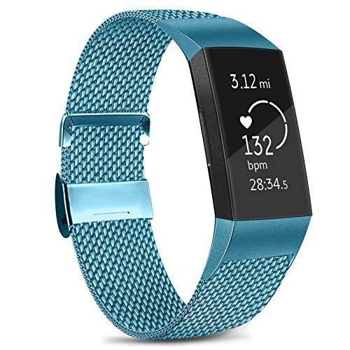 Amzpas Kompatible Für Fitbit Charge 3 Armband/Fitbit Charge 4 Armband, Metall Edelstahl Ersatzarmband Kompatibel mit Fitbit Charge 3/ Charge 4 (S, 09 Blau)