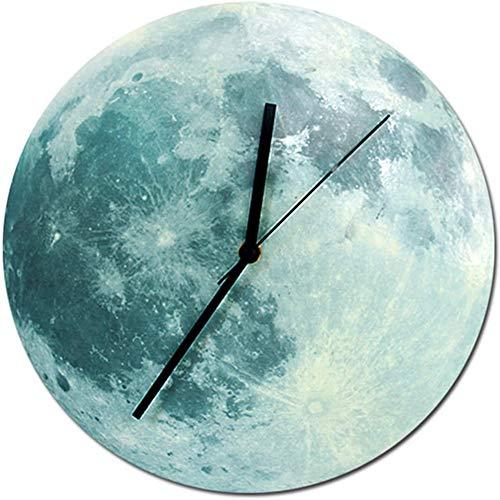 YCX Wanduhr Beleuchtet, Kreative Leuchtend Wanduhr Mond Ohne Tickgeräusche Modern Wanduhr Zuhause Büro Dekoration Geschenk,Blau