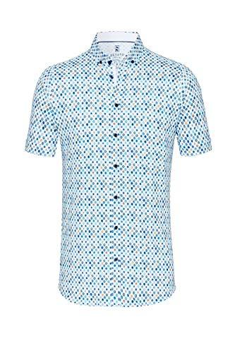 DESOTO Herren Hemd Kurzarm mit Button-down Kragen - Bügelfrei, Farbe:Mehrfarbig (White Multi Circles 973), Größe:XL