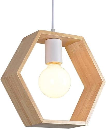 MYXMY Lustre en Bois américain Style rétro Plafond Lampe de Restaurant Chambre Bar Simple tête Suspension Lampe (Hexagonal)