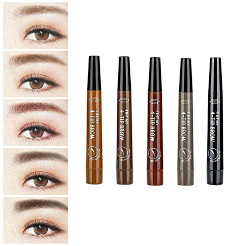 Natürlicher 4-Punkte-Augenbrauenstift, Make-up Microblading-Augenbrauenstift mit vier Gabelspitzen, wasserdichter, nicht verblassender Augenbrauenstift , (Graubraun)