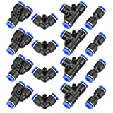 40 piezas Conexiones Neumáticas Enchufe Rapido Neumatico Conectores Manguera Neumática Push Connector 4 Tipos Herramientas Neumáticas para la Conexión de Tuberías Aire (6mm)