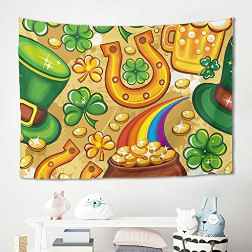 Niersensea Tapiz de pared para colgar en la pared, diseño de San Patricio, para picnic, yoga, meditación, decoración de pared, color blanco, 230 x 150 cm