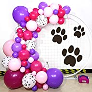 Paw Balloon Garland,Purple Rose Red Pink Latex Balloons With Paw Balloons for Paw Patrol Theme Party 97 Count