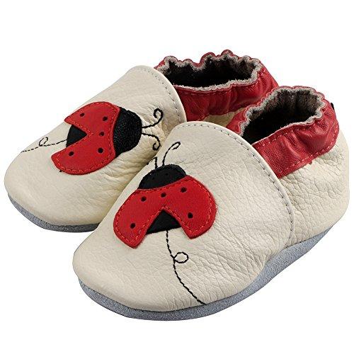 Free Fisher Baby Jungen/Mädchen Lauflernschuhe Krabbelschuhe Babyschuhe Lederschuhe Hausschuhe, Rot Marienkäfer auf Weiß, 12-18 Monate