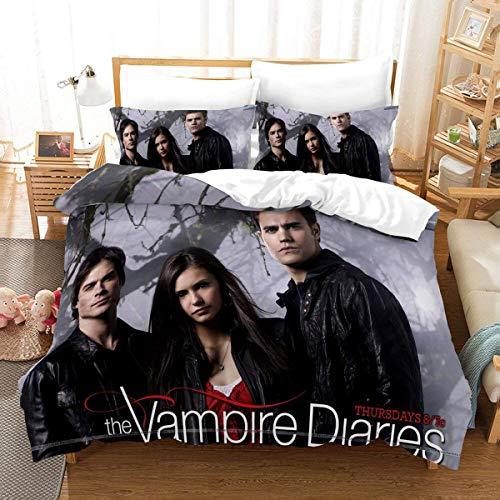 QWAS Ropa de cama Vampire Diaries, 100% microfibra, suave y transpirable, 1,135 x 200 cm + 50 x 75 cm x 2