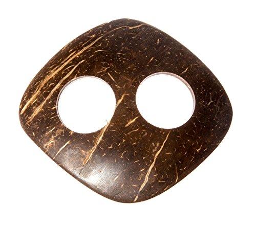 Kascha Kokosnuss Sarongschnalle in Rauteform - Binden Sie Ihren Sarong oder Pareo zu einem Wickelrock, Wickeltuch, Wickelkleid, Hüftrock.