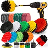 Holikme 38 Pack Drill Brush Attachments Set,Scrub Pads & Sponge, Power Scrubber Brush with Extend Long Attachment All Purpose Clean for Grout, Tiles, Sinks, Bathtub, Bathroom, Kitchen,Yellow