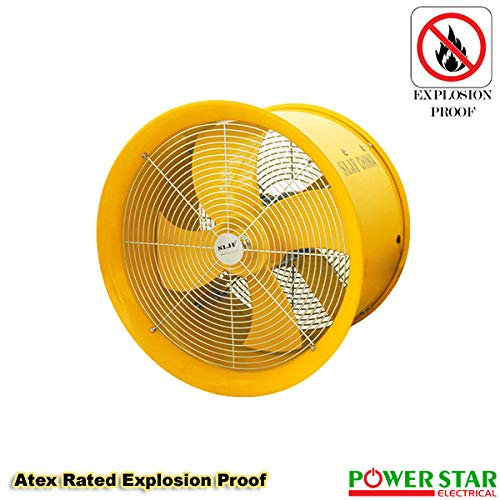 Industrial (EX) Axial Canopy Extractor Commercial Exhaust Cased Powerful Fan (12 Inches, Yellow)
