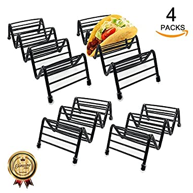 Taco Holder stand,stainless steel Premium Quality Taco Holder Stand - Taco Rack Set of 4 Packs (black)