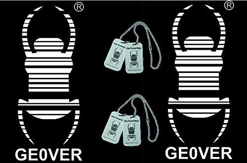 2 Stück - Gr. L 15 cm x 6,5 cm Travelbug incl. Copytag Autoaufkleber Trackbar Travelbug von Geo-Versand Trackable Geocaching - Autoaufkleber Konturgeschnitten Sticker, Car Sticker, Aufkleber fürs Auto Geocaching Logo