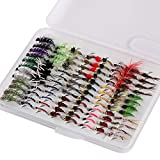 Bassdash Fly Fishing Nymph Flies Kit, Pack of 96 pcs Fly Lure, with Ultrathin Fly Box