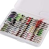 Bassdash Kit de pêche à la mouche nymphe, lot de 96 leurres à mouche, avec boîte ultra fine