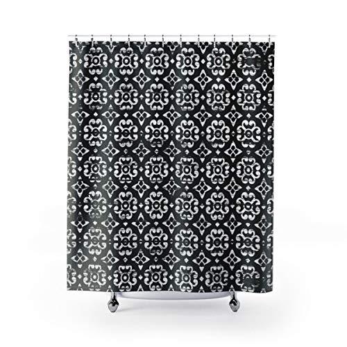 Ad4ssdu4 zwart-wit douchegordijn distressed tegel patroon zwart badkamer decor douchegordijn ideeën badgordijn