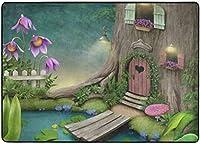 池エリアの敷物の近くにドアと窓のある木、リビングダイニングルームの寝室のキッチン用の敷物、5'X7'の保育園の敷物の床のカーペットヨガマット