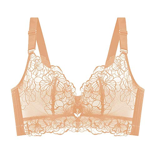 Aututer Embroidered Thin Full Cup Women's Plus Size Bra Gathered, Big Breasts Show Small Anti-Sagging Underwear Without Steel Ring Adjustment