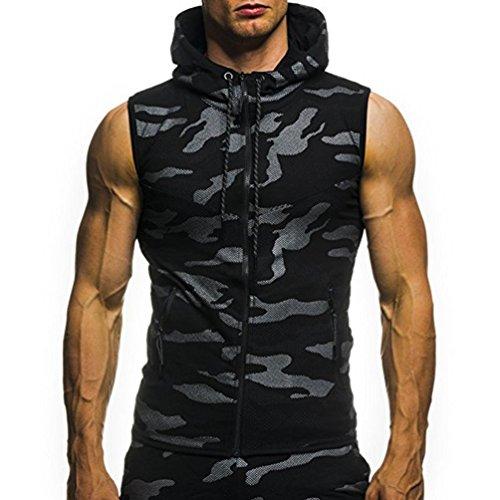 Odejoy Uomo Sottile Canotta Camouflage Militare Senza Maniche Tops con Cappuccio Estate Vest Maglietta Moda Casual Abbigliamento Sportivo Pullover Fel