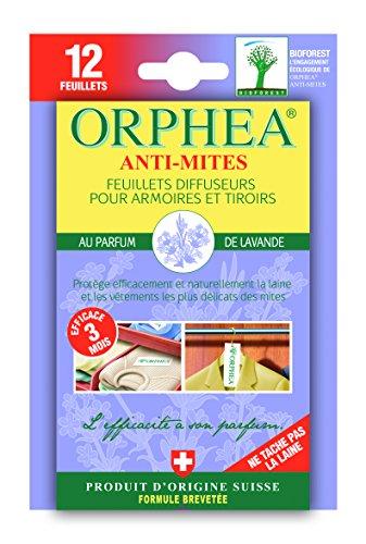 ORPHEA Anti Mites Textiles Diffuseur Parfum Lavande 12 Feuillets - Lot de 4