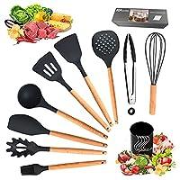 ozvavzk utensili da cucina in silicone,11 pezzi set utensili cucina professionali resistente al calore antiaderenti, set di attrezzi cucina con manico in legno e contenitore e gancio