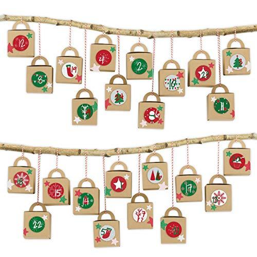 Papierdrachen 24 cajitas de Calendario de Adviento con Asas - Motivo Cajas Marrones con diseños en Rojo y Verde - para Rellenar - Navidad 2018