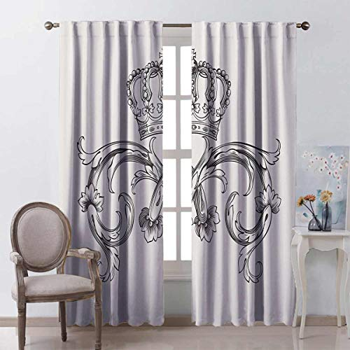 Toopeek Medieval Decor Collection Heat Insulation Curtain Royal Crown Vintage Curves King Palace Ribbon Monochrome Retro Art for Living Room or Bedroom W100 x L84 Inch Cedar and White