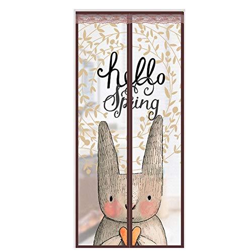 Patrón De Conejo Farol Antimosquitos 90x200cm / 35x78inches Mosquitera Iman Puerta para madera, puertas de aluminio de hierro y balcón, puerta corredera de la sala de estar,Fácil de Montar sin Taladr