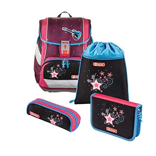 """Step by Step Schulranzen-Set 2IN1 """"Popstar"""" 4-teilig, rot-schwarz, ergonomischer Tornister mit Reflektoren, höhenverstellbar mit Hüftgurt für Mädchen 1. Klasse, 19L"""