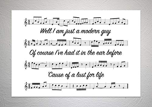 Iggy Pop - Lust For Life - Song Sheet Lyric Art Print - A4 formaat