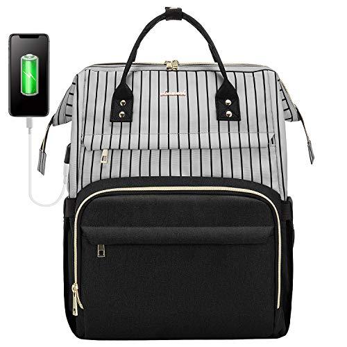 LOVEVOOK Rucksack Damen, wasserdichte Schulrucksack Mädchen Teenager, Groß Uni Laptoprucksack mit USB Ladeanschluss, Rucksack mit Laptopfach für 17 Zoll Laptop