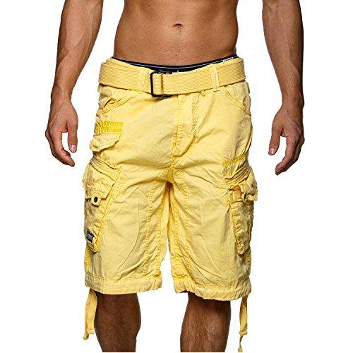 Pantalones cortos tipo cargo de color amarillo