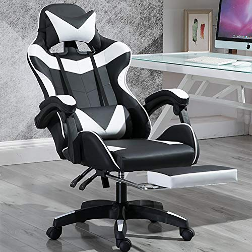CATLXC Silla de oficina para videojuegos con reposapiés, ergonómica, de piel sintética, giratoria, con ruedas, altura regulable y soporte lumbar, color blanco