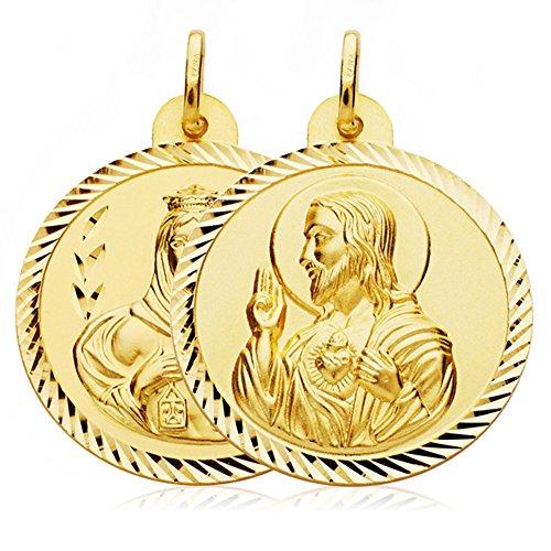 Escapulario Virgen Carmen y Corazón de Jesús Medalla Oro 18k hélice 28 mm