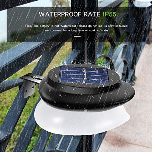 Solar Gutter Lights, Newest 9 LED Outdoor Fence Light Waterproof Wall Lamps for Garden Patio Driveway Deck Stairs - White Light, Pack of 6