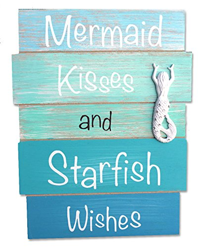 California Seashell Company Mermaid Kisses and Starfish Wishes - Coastal Wood Plank Sign with White Resin Starfish & Rhinestones