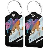 VORMOR Etiquetas para Equipaje,Zodiaco Tauro Día Noche Tema,2 Piezas Etiquetas de Equipaje de Viaje Etiquetas de Identificación de la Maleta para Maletas,Mochila