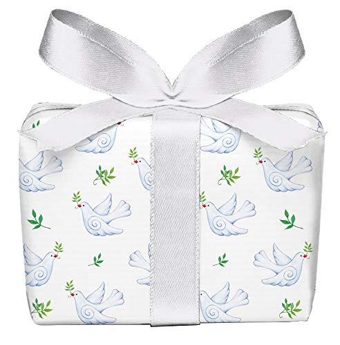 5er Set 5 Bögen Geschenkpapier zur Geburt Taube Weiß zur Geburt Taufe Glückwunsch, gedruckt auf PEFC zertifiziertem Papier, 50 x 70 cm