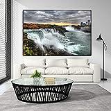 Pintura al óleo Cuadro de lienzo de cascada de Niagara con estampado de paisaje, póster moderno, cuadros de pared para sala de estar, cuadro decorativo para el hogar Quadro 60x90cm