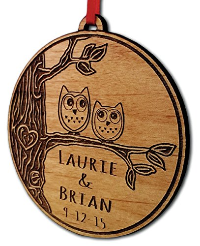 Newlywed Christmas Ornament Owl Love Birds Personalized Heart Tree