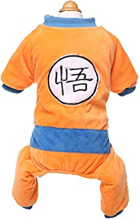 MaruPet Outfit Winter Warm Son Goku Printed Four-Leg Jumpsuit Overalls Outfit