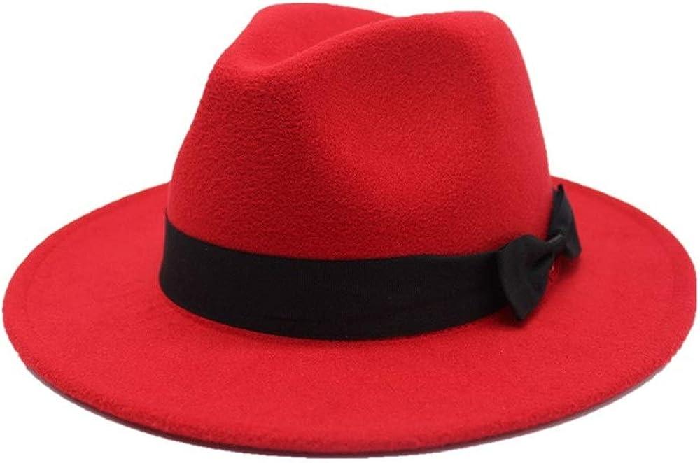 L.W.SUSL Fashion Men Women Fedora Hat with Cloth Belt Wide Brim Church Hat Wool Trilby Jazz Hat