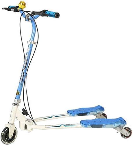 LIANG Scooter à Trois Roues Scooter Voiture Double Frein Arrière Bébé Poussette Double Pédale Grenouille Voiture (Couleur   Bleu)