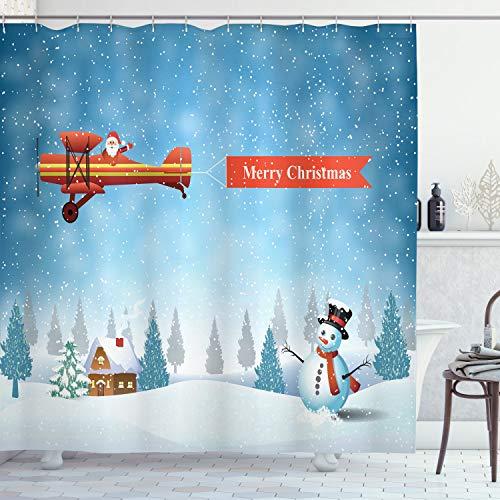 ABAKUHAUS Weihnachten Duschvorhang, Sankt Flugzeug Schneemann, Trendiger Druck Stoff mit 12 Ringen Farbfest Bakterie & Wasser Abweichent, 175 x 200 cm, Blue Orange