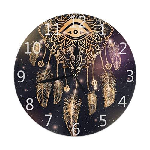 Night Ing Native American Indian Dreamcatcher Horloge Murale Ronde pour Étudiant Bureau École Maison Horloge Décorative Art