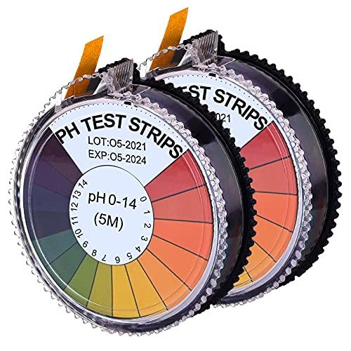 smmapens PH Teststreifen Indikator pH Tragbar Genau, Messbereich 0-14 Lackmus Messstreifen für Aquarien Trinkwasser Kosmetisch, 2 Rollen, 16,4 ft/Rolle